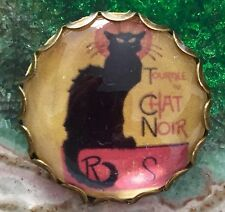 Vintage Style Le Chat Noir Cat  Collectors Scottish Hand Made Glass Brooch