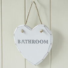 Shabby Chic Wooden Heart Hanging Wall Plaque Decoration - Bathroom