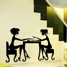 PVC Art Home Nail Shop Salon Black Fashion Girl Nails Vinyl Decal Wall Sticker