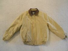 Men's Dockers Jacket Large Quilted Lining Tan & Brown Soft Feel