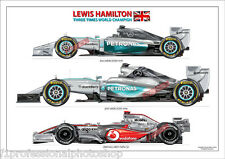 Lewis Hamilton 3 times F1 World champion 2008,14,15 A4 print signed by artist