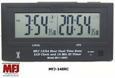 MFJ-148RC Dual Time LCD Clock, Radio Controlled, Atomic With GMT ZONE, ID Timer