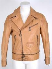 NEW BELSTAFF MEN'S $2,395 LUGGAGE BROWN COLWYN MOTO BLOUSON LEATHER JACKET~38 48