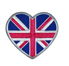 British Heart Iron-On Patch 3 3/4 x 3 3/4 inches Free Shipping GP0122 Licensed