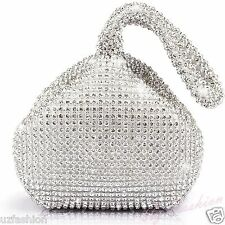 SILVER CRYSTAL DIAMANTE LADIES PARTY EVENING WEDDING CLUTCH HAND BAG POUCH PURSE