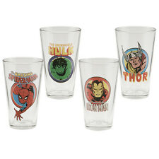 Marvel Comics Characters and Names 16 ounce Pints 4 Glass Set, NEW TORN BOX