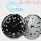 Large Round 31CM Shinny Frame Wall Clock Modern Home Decor Aus Stock Black White
