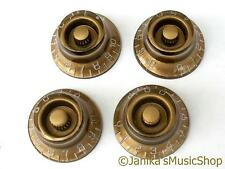 4 NEW ELECTRIC GUITAR GOLD TOP HAT KNOBS SUB_MIN VOLUME TONE SG LP SPLINED SHAFT