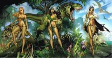J SCOTT CAMPBELL signed SAVAGE LAND SHANNA, ROGUE, STORM 3 PRINT SET w COAs SDCC
