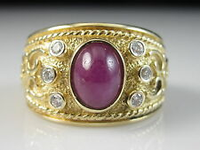 14K Ruby Diamond Ring Wide Band Etruscan Cabochon Fine Yellow Gold Size 7