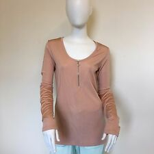 Weekday Ladies Summer Zip Front Beige Cream Stretchy Body Con Top UK Size 12