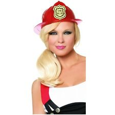 Red Fireman hat Firefighter Costume Accessory Adult Halloween Fancy Dress
