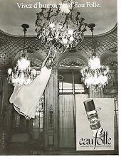 PUBLICITE ADVERTISING 064  1978   EAU FOLLE  parfum GUY LAROCHE