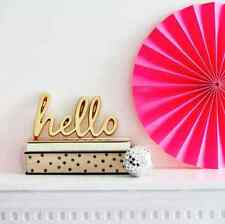 Bombay Duck Cast 'Hello' Word in Gold Brass - Room Plaque Wall Decoration