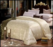 100%Mulberry Silk Cotton Satin Jacquard Comforter Blanket Quilt QUEEN Cream Gold