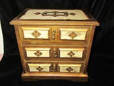 Vintage Gold Wood Royal Sealey 3 Drawer Jewelry Box w/Music Box - Japan
