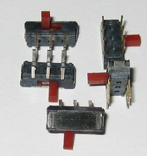 5 X DPDT Miniature Right Angle Slide Switch - 6 Pin PC Board Mount - Red Slide