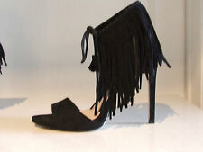 ZARA Divine Black Suede Stiletto High Heel Fringes Tassel Shoes UK 7.5 EU 41 FAB