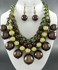 Burnish Gold Tone Metal Link Brown Faux Pearl Chunky Necklace Earring Set