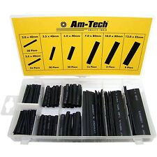 127pc Black Heat Shrink Assortment Wire Wrap Electrical Insulation Sleeve S6205