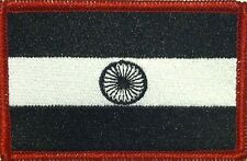 INDIA Flag Embroidered Iron-On Patch Black & White Version Red Border #057