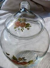 Pfaltzgraff Tea Rose Glass Canister Apothecary Jar with Lid