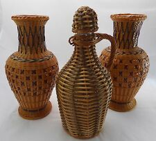 Three Vintage Woven Wrapped Wicker Rattan Two Ceramic Vases & One Bottle