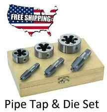 """6 PC 1/4"""" 3/8"""" 1/2"""" INCH HIGH CARBON STEEL PIPE TAP & AND DIE SET FREE SHIPPING"""