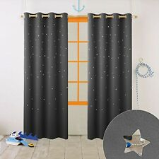 Nicetown Kid's Bedroom Window Treatment Blackout Twinkle Stars Curtains ( Laser