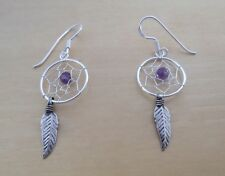 Amethyst Stone, Feather, Spider Web Dreamcatcher Earrings, 925 Sterling Silver