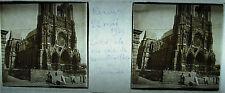 Plaque photo stéréoscopique photographie Cathédrale Reims reconstruction 05 1929