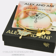 Authentic Alex and Ani Luna Moth Yellow Gold Bangle