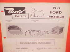 1959 FORD PICKUP TRUCK F-100 250 350 PANEL STAKE BENDIX AM RADIO SERVICE MANUAL