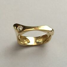 Custom Designed Ring - 18k Pure Yellow Gold Ring w/ Diamond Solitaire Size 6.5