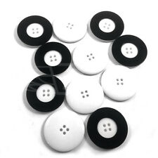 Paquete De 10, 34 Mm De Plástico Blanco botón Botones Borde Negro 4 Agujero Btn (27292-54)