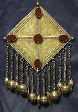 """TURKMEN TURKOMAN Tekke Antique Pendant Gilded Silver Carnelian Ethnic Jewelry 9"""""""