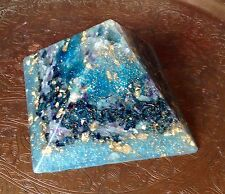 """Azure puissant 120mm 4.5"""" or cuivre gizeh pyramide d'orgone crystal orgonite"""