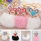 Cute Fox Fur Pearl Rhinestone Ball PomPom Key Chain Ring Car Pendant Bag