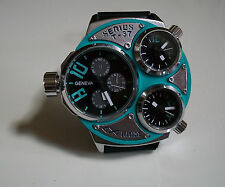 Elegant designer style GENEVA 3 time zone fashion  heavy watch