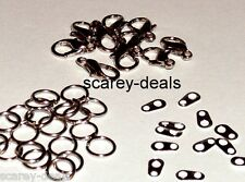 5 x SILVER TONE NECKLACE BRACELET KITS JUMP RING findings CLASP 1st class post