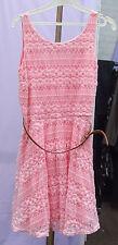 River Island UK 10-12 Beautiful Pink Lace Sleeveless Lacy Dress +Narrow Tan Belt