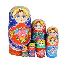 7pcs Russian Nesting Dolls Traditional Wooden Handmade Matryoshka gift G