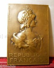 RARE BRONZE AWARD ART NOUVEAU MEDAL MARIANNE PLAQUE THE FRENCH REPUBLIQUE