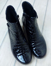 Black Patent 'Mock Croc' Style Ankle Boots by 'K' Size 4.5 E Wide Fit