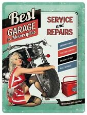 PLAQUE EN METAL EMAILLEE NEUVE 30 X 40 cm : ATELIER MOTO BEST GARAGE PIN UP 2