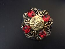 Vintage Pendant Brooch Asian Design Red Crystals Element