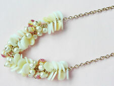 ACCESSORIZE GOLD NECKLACE_MOTHER OF PEARL DISCS, CREAMY PEARLS, UNUSUAL BEADS