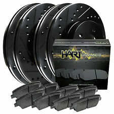[FULL KIT] BLACK HART DRILL/SLOT BRAKE ROTORS & PADS-Subaru LEGACY 05-09 2.5 GT