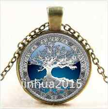 NEW/Vintage Celtic Silver/Blue Tree Of Life Glass Cabochon Bronze Chain Necklace