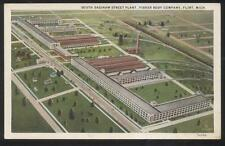 POSTCARD FLINT MI/MICHIGAN SAGINAW STREET FISHER BODY FACTORY PLANT 1920'S